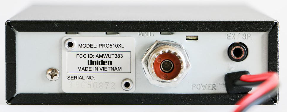 Two way radio protocol and information rear view of a cb radio showing the antenna and external loudspeaker connections sciox Gallery